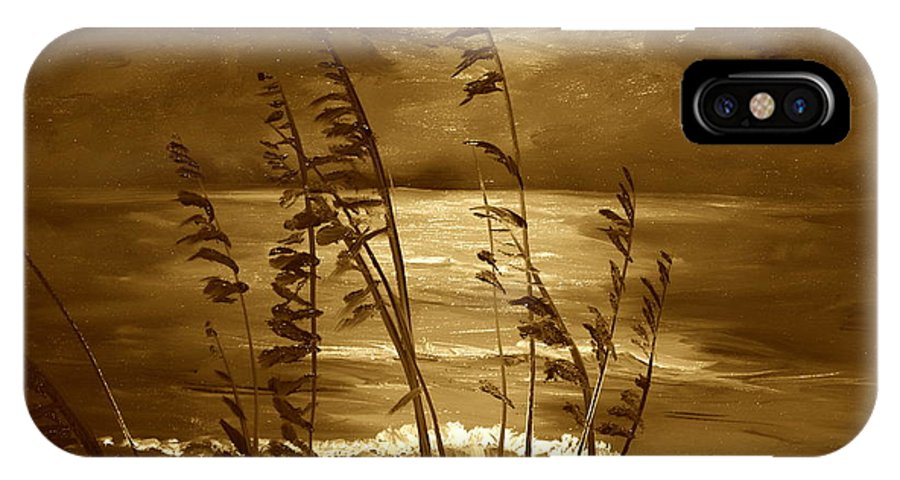Landscape IPhone X / XS Case featuring the painting Sienna Moonlight by Alan Lakin