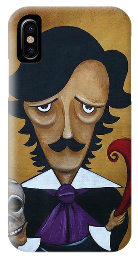 Dark Art IPhone X Case featuring the painting Silence A Poe Caricature by Charlene Murray Zatloukal