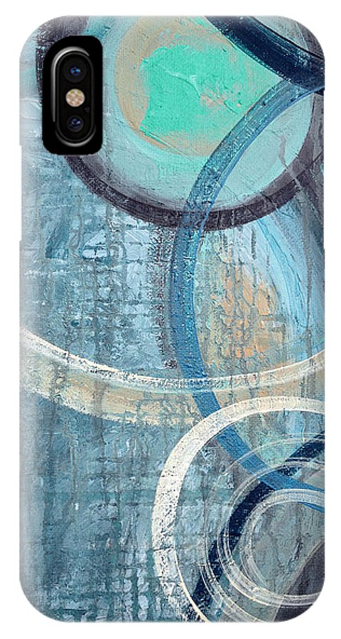 Abstract IPhone X Case featuring the painting Silent Drizzle by Ruth Palmer