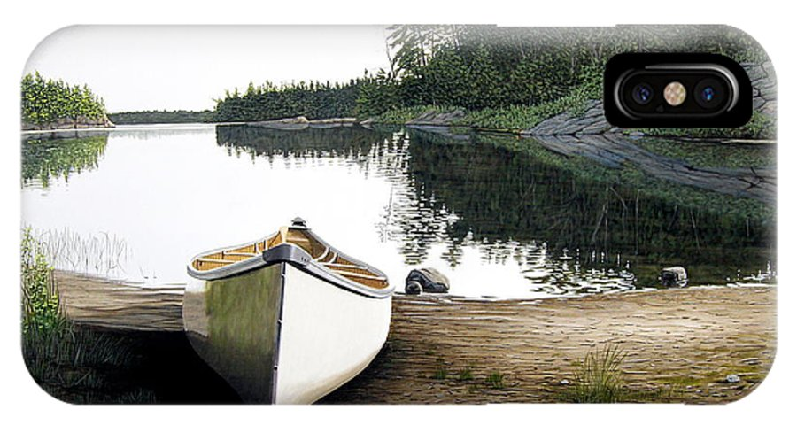 Landscapes IPhone X Case featuring the painting Silent Retreat by Kenneth M Kirsch