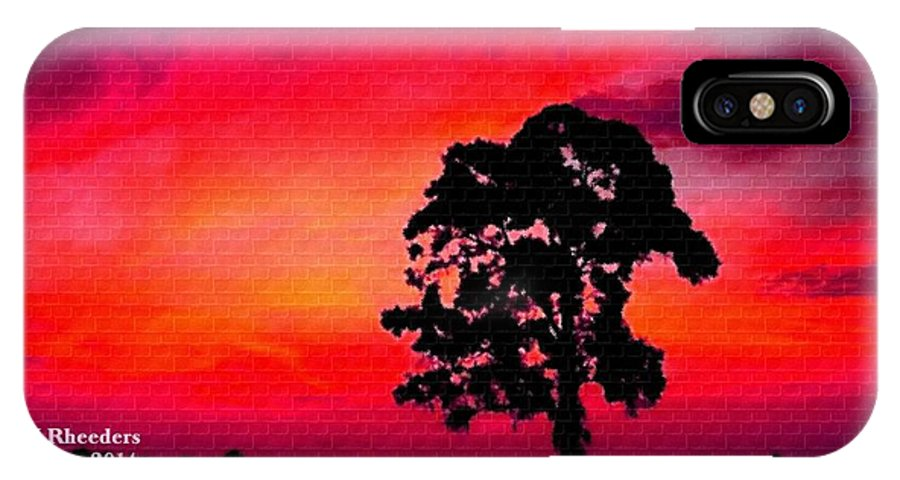 Announcement IPhone X Case featuring the painting Silhouette Sunset H A by Gert J Rheeders
