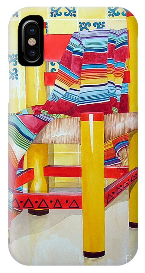 Still Life Painting IPhone X Case featuring the painting Silla De La Cocina--kitchen Chair by Kandyce Waltensperger