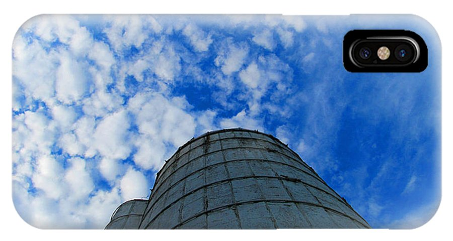 Silo IPhone X Case featuring the photograph Silo Meets The Sky by Tina M Wenger