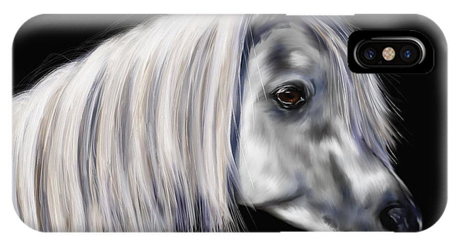 Arab IPhone X Case featuring the painting Grey Arabian Mare Painting by Michelle Wrighton