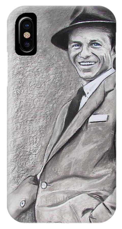 Francis Albert frank Sinatra IPhone X Case featuring the drawing Sinatra - The Voice by Eric Dee