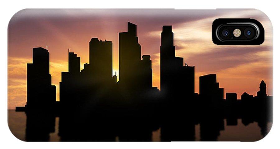 Singapore City Skyline IPhone X Case featuring the photograph Singapore City Sunset Skyline by Aged Pixel