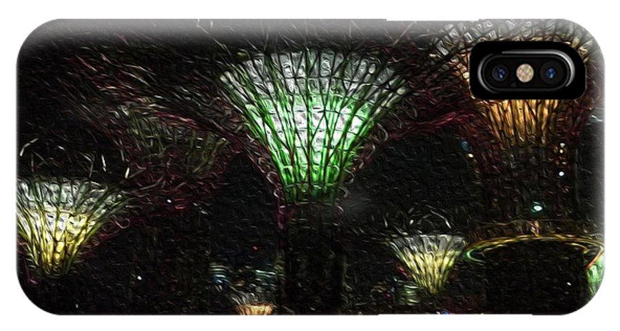 Singapore IPhone X Case featuring the digital art Singapore Lights by William Hadala