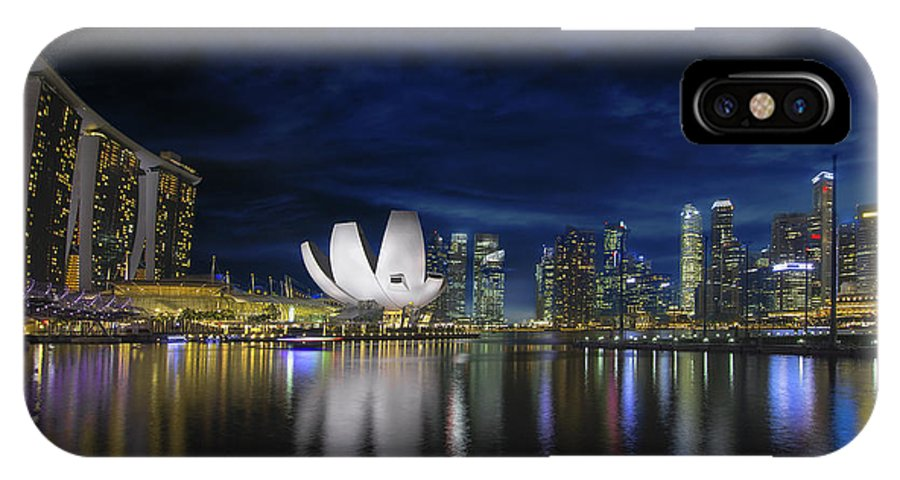 Singapore IPhone X Case featuring the photograph Singapore Skyline By River Waterfront At Dusk by Jit Lim