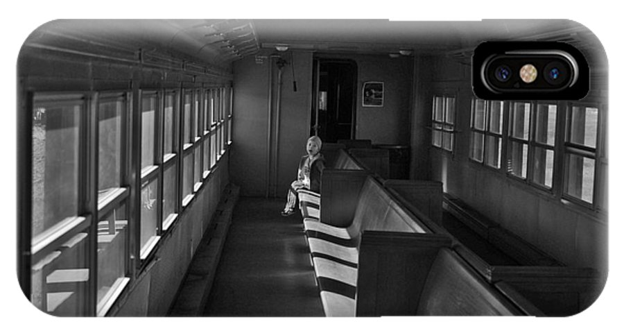 Black And White Photography IPhone X Case featuring the photograph Singin' In The Train by Jeremy Rhoades