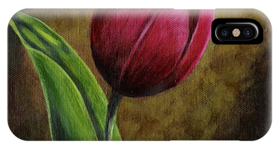 Flower IPhone X Case featuring the painting Single Tulip by Jesslyn Fraser