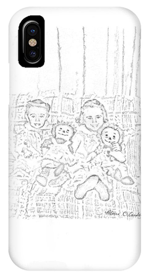 Sisters IPhone X Case featuring the drawing Sisters by Rebecca Christine Cardenas