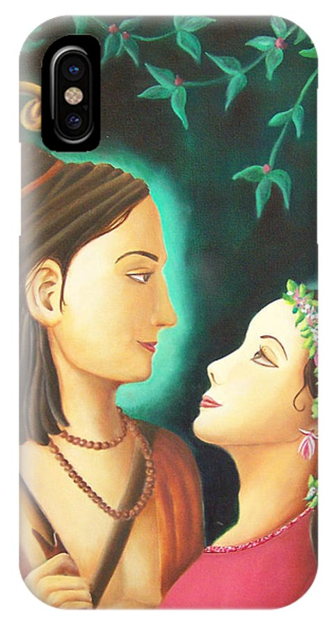 Sita IPhone X Case featuring the painting Sita Rama In The Forest by Christine Sherwood