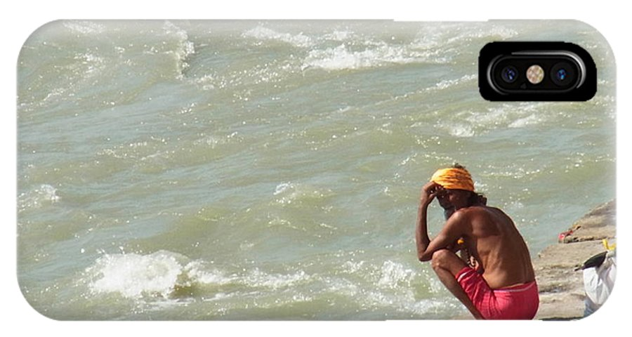 India IPhone X Case featuring the photograph Sitting At Ganga by Agnieszka Ledwon
