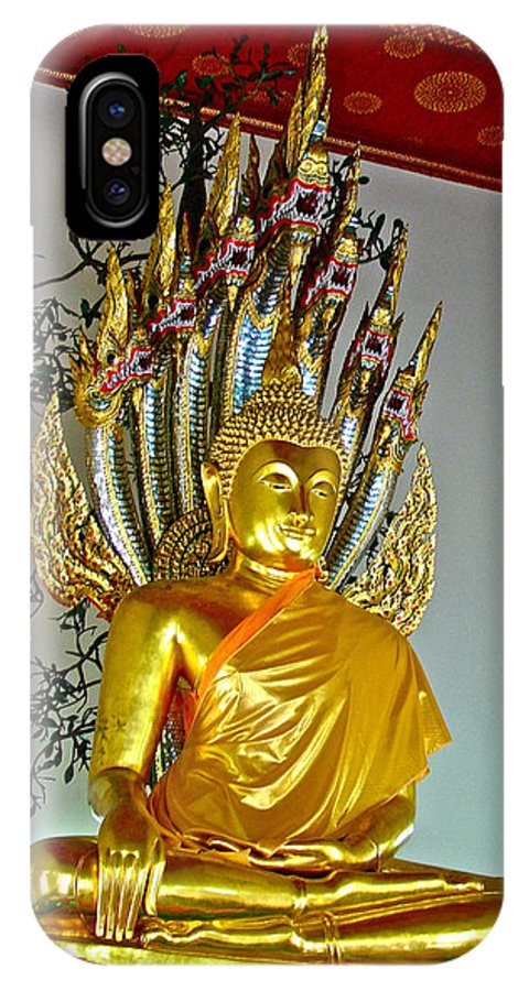 Sitting Buddha In Wat Po In Bangkok IPhone X Case featuring the photograph Sitting Buddha In Wat Po In Bangkok-thailand by Ruth Hager