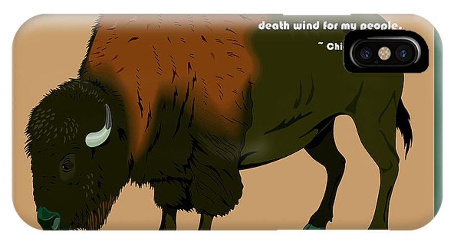 Digital Creation IPhone X Case featuring the digital art Sitting Bull Buffalo by Digital Creation