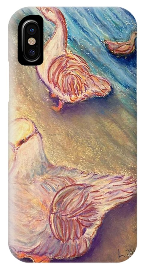 Duck IPhone X Case featuring the painting Sitting Ducks by Laurie Morgan