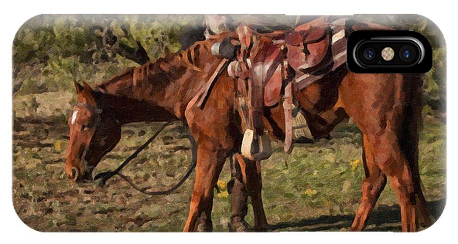 Cowboy IPhone X Case featuring the digital art Six Feet by Jack Milchanowski