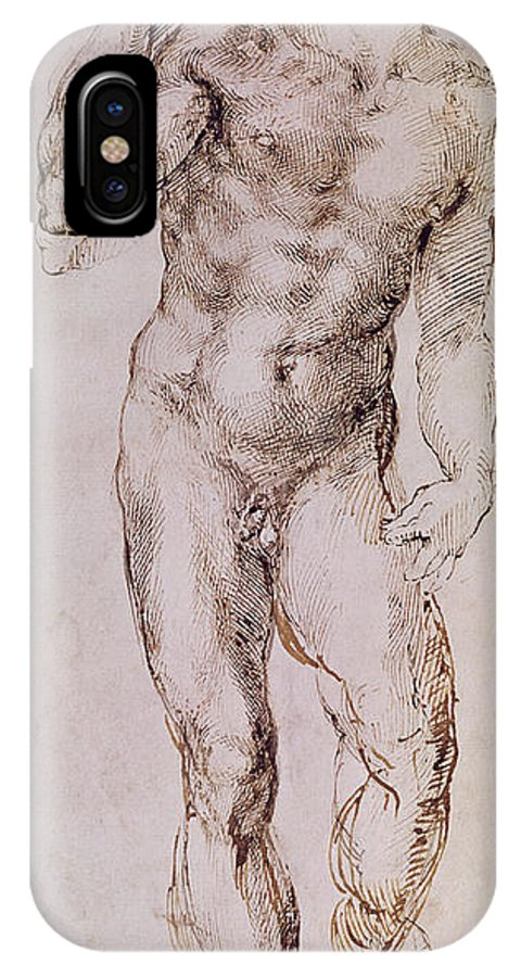 Nude IPhone X Case featuring the painting Sketch Of David With His Sling by Michelangelo Buonarroti