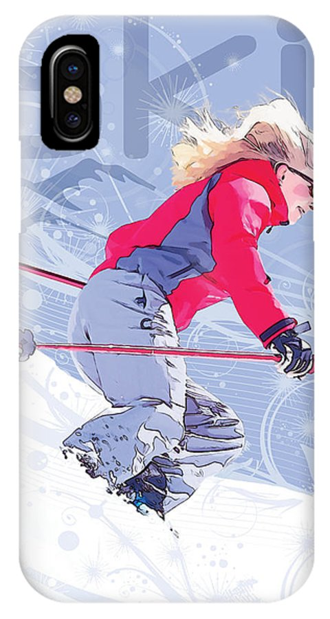 Snow IPhone X Case featuring the digital art Ski 1 by Anita Hubbard