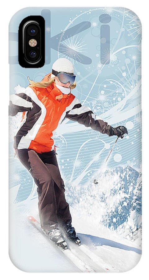 Snow IPhone X Case featuring the digital art Ski 2 by Anita Hubbard