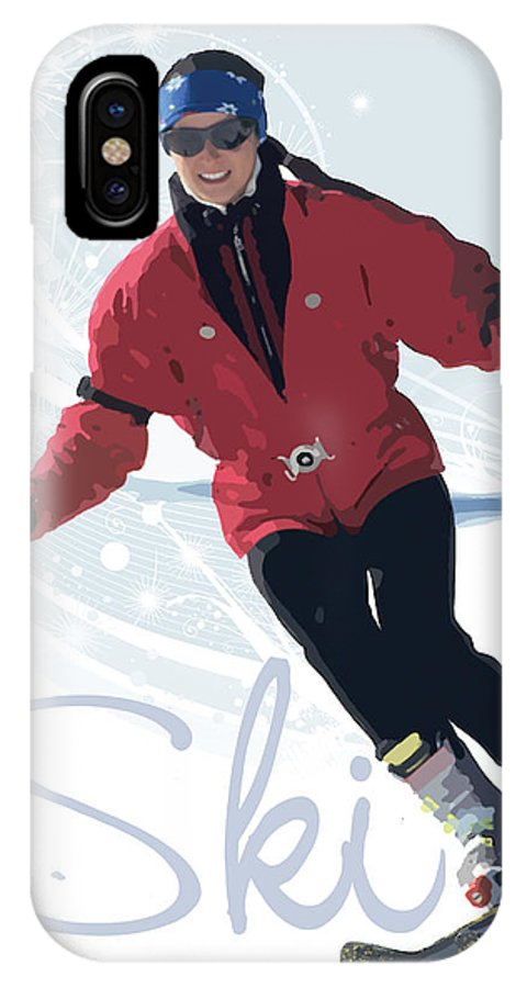 Snow IPhone X Case featuring the digital art Ski 3 by Anita Hubbard