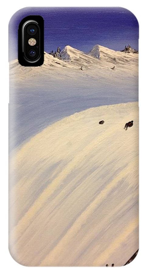 Landscape IPhone X Case featuring the painting Ski Trip by Jenel Williams