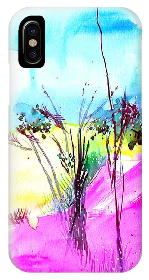 Flower IPhone X Case featuring the painting Sky Fall by Anil Nene