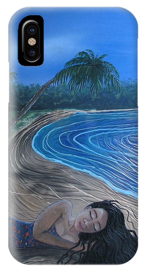 Palm Tree IPhone X Case featuring the painting Sleeping Beauty by Joan Stratton