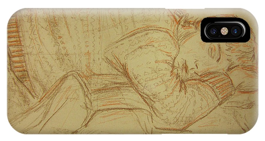 Figure IPhone X Case featuring the drawing Sleeping Figure by Jeffrey Oleniacz