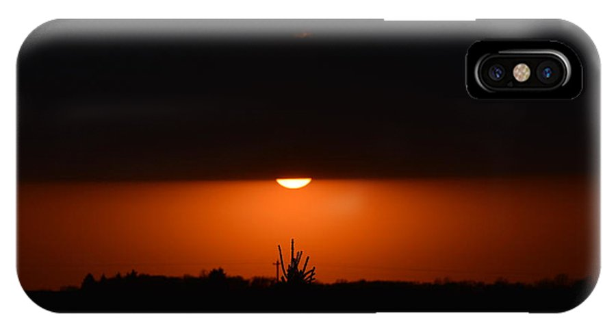 Sun IPhone X Case featuring the photograph Sliver Of A Sunset by Dacia Doroff