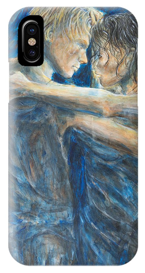 Slow Dancing IPhone X / XS Case featuring the painting Slow Dancing Iv by Nik Helbig