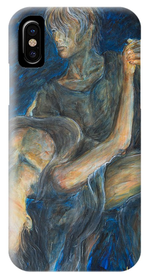 Slow Dancing IPhone X / XS Case featuring the painting Slow Dancing V by Nik Helbig
