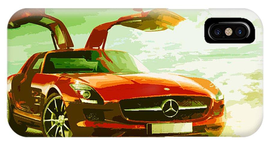 Automotive Art IPhone X Case featuring the digital art Sls Amg by Sarthak Sahu