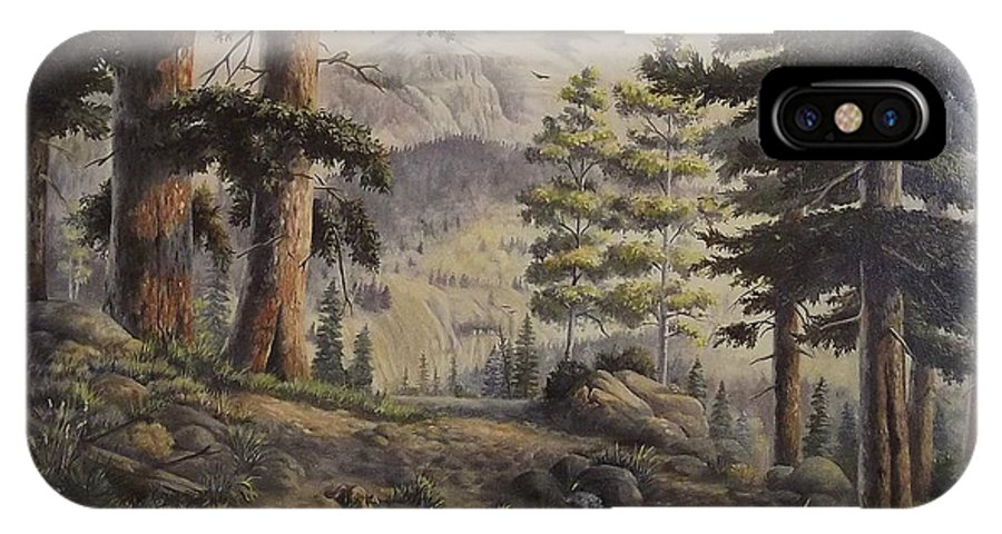 Slumgullian Mountain Colo. IPhone X Case featuring the painting Slumgullian Pass by Wanda Dansereau