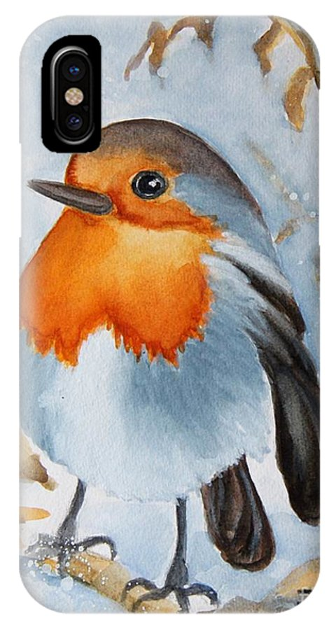 Bird Painting IPhone X Case featuring the painting Small Bird by Inese Poga