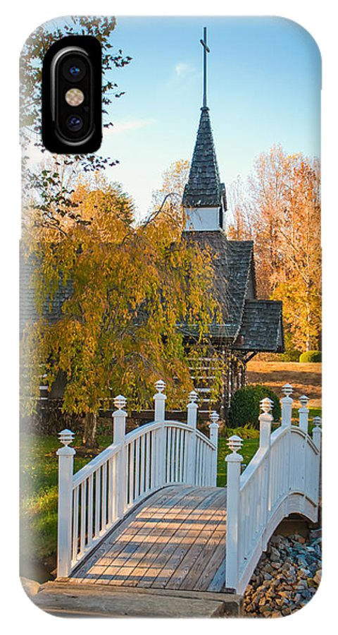 White IPhone X Case featuring the photograph Small Chapel Across The Bridge In Fall by Alex Grichenko