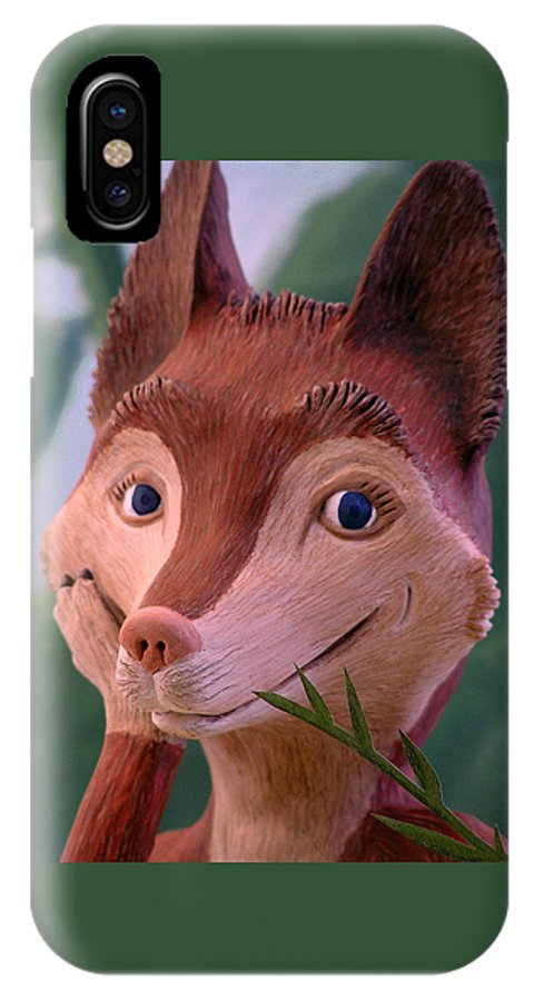 Fox IPhone X Case featuring the mixed media Smiling Fox by Jennifer Montgomery