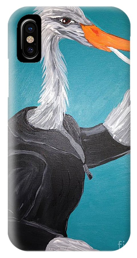 Egret IPhone X / XS Case featuring the painting Smoking Egret In Leather Jacket by Melissa Darnell Glowacki