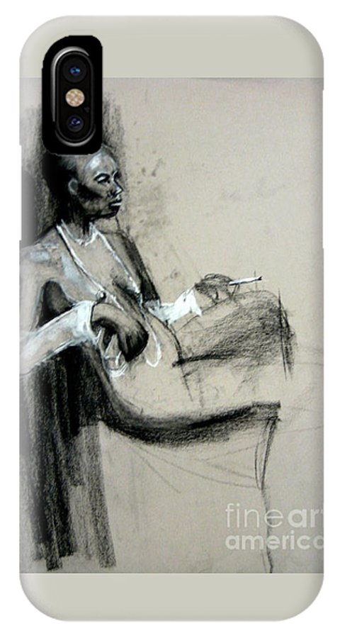 Smoking IPhone X Case featuring the drawing Smoking by Gabrielle Wilson-Sealy