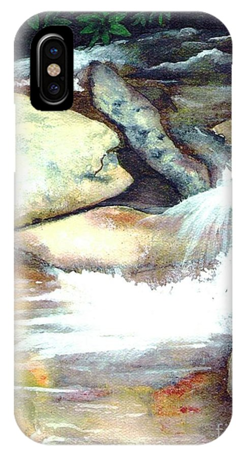 Fine Art IPhone X Case featuring the painting Smoky Mountains Waterfall by Patricia Griffin Brett