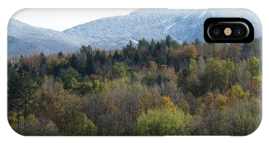 Mountain IPhone X Case featuring the photograph Smugglers Notch From Cambridge Vermont by Barbara McDevitt