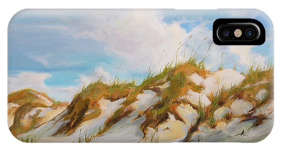 Beach IPhone X Case featuring the painting Smyrna Dunes by Laura Bates