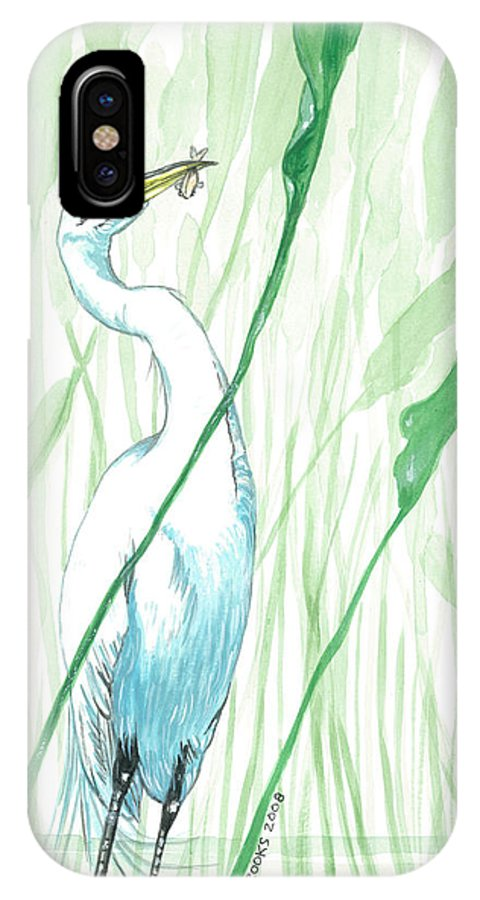 Egret IPhone Case featuring the painting Snacktime. by Richard Brooks