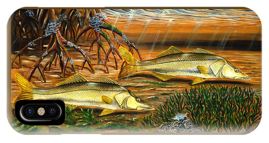 Snook IPhone X Case featuring the painting Snook In The Mangroves by Steve Ozment