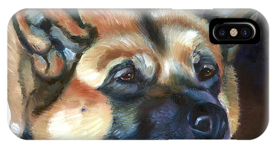 Akita IPhone X Case featuring the painting Snooze by Lyn Cook