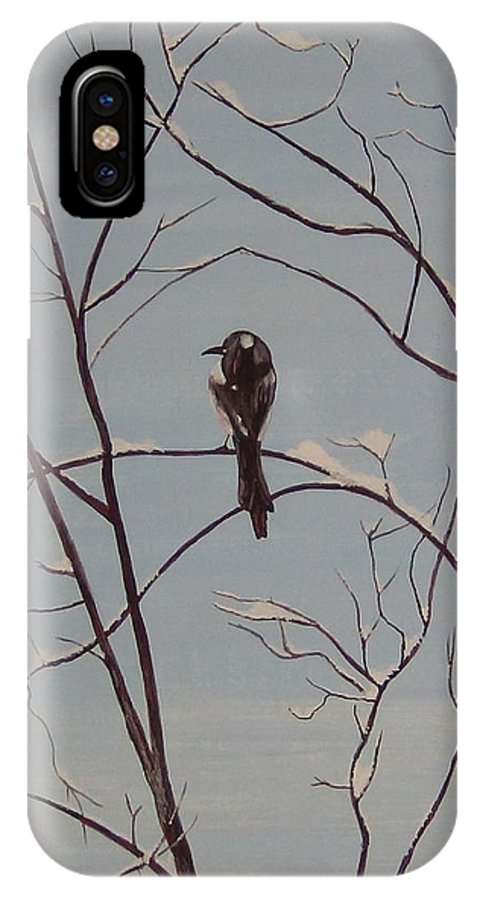 Bird IPhone X Case featuring the painting Snow Bird by Marine Corps Art By Bruce Ward