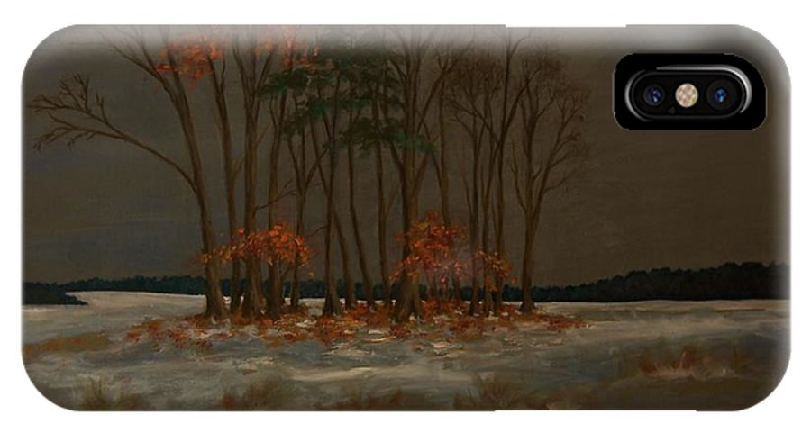 Wood IPhone X Case featuring the painting Snow by Birgit Schnapp