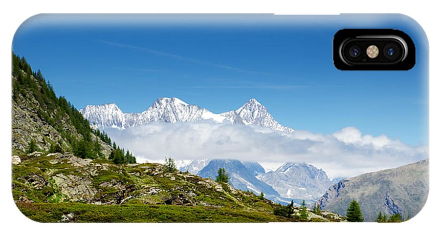 Mountain IPhone X Case featuring the photograph Snow-capped Mountain And Cloud by Mats Silvan