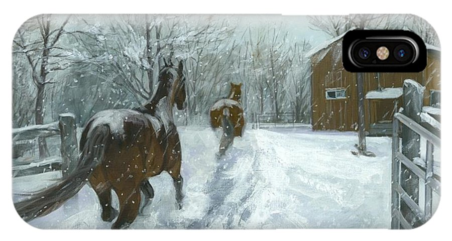 Horses IPhone X Case featuring the painting Snow Fun by Karen Bockus