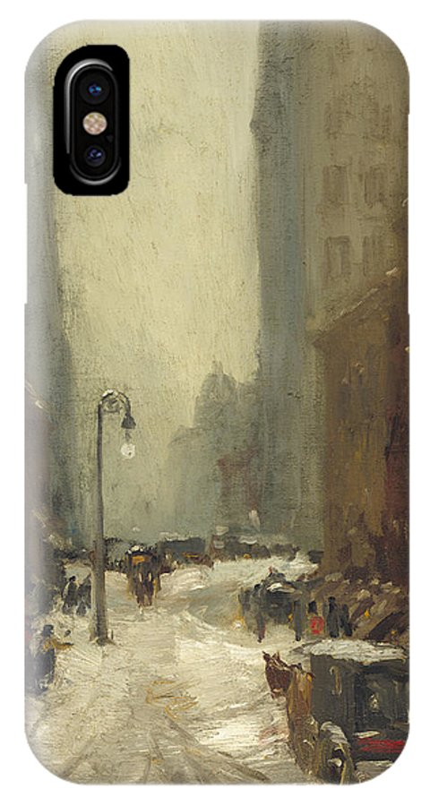 New York City IPhone X Case featuring the painting Snow In New York by Mountain Dreams